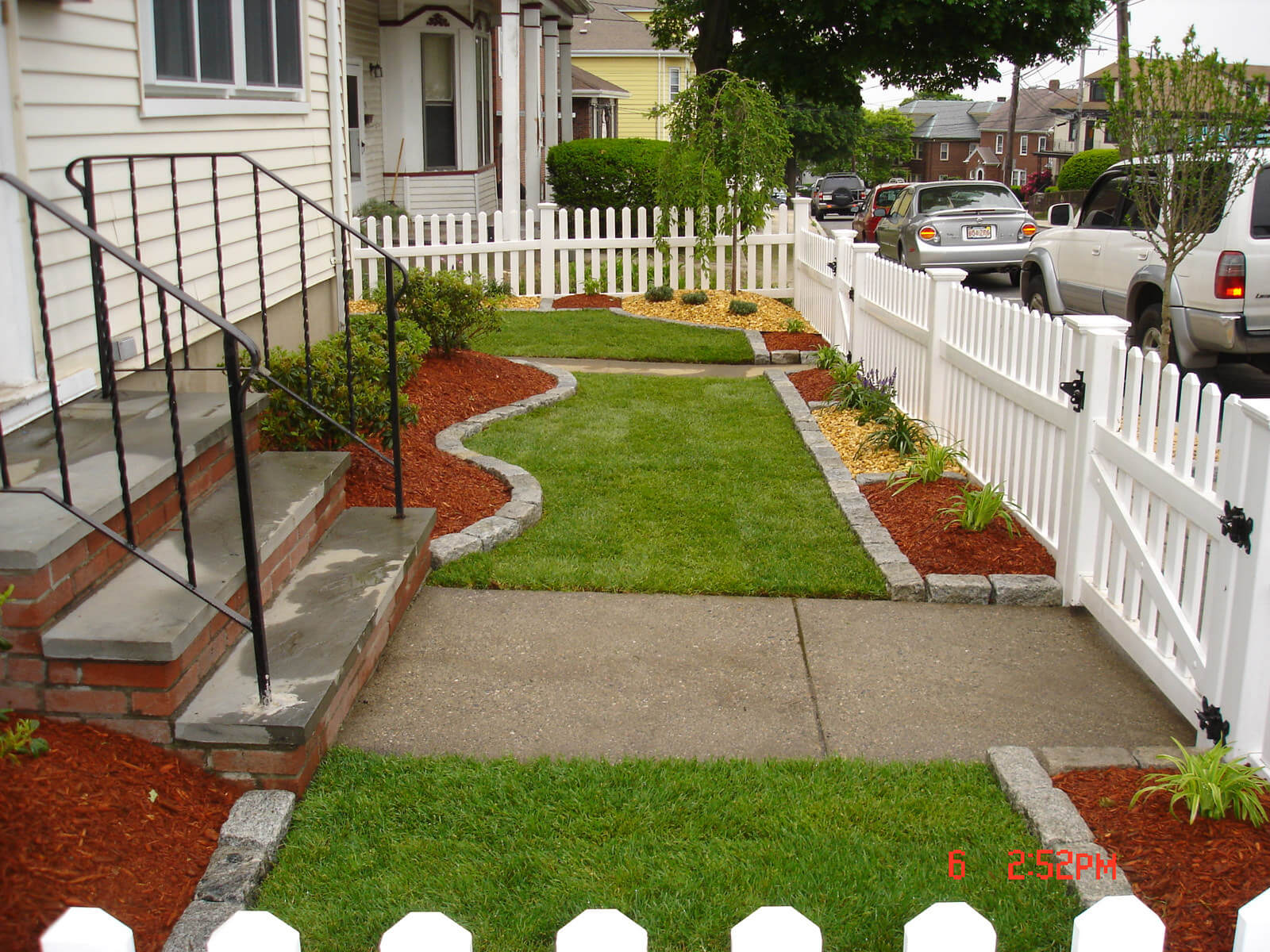 Before after photos of landscaping services in melrose for Garden design ideas before and after