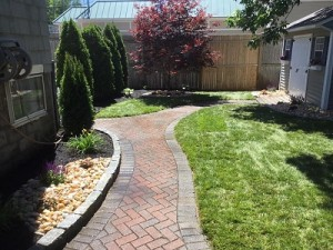 walkway in backyard