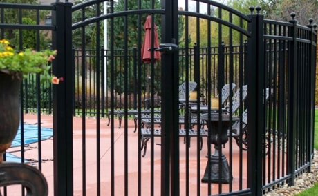black iron fence